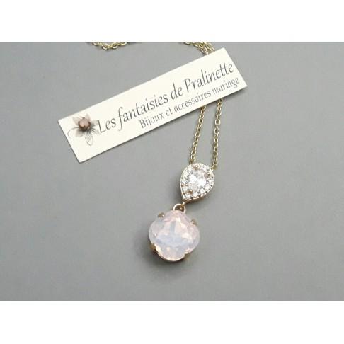 Eden rose opal collier pendentif de mariage doré cabochon en cristal et strass oxyde de zirconium sur fine chaine