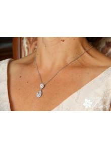 Soane pendentif de mariage deux gouttes cristal oxyde de zirconium serti et strass sur fine chaine