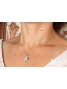 Ana-Malia pendentif de mariage cabochon cristal oxyde de zirconium serti et strass sur fine chaine
