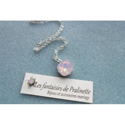 Lysine rose opal collier pendentif de mariage en cristal