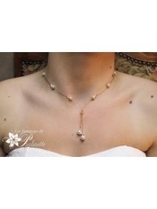 Larmes collier de mariage plongeant en perles de cristal