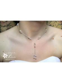 Collier de mariée Larmes gouttes, perles en cristal