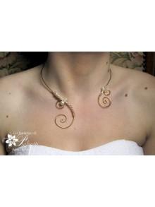 Agnessa collier de mariage arabesques et perles de cristal