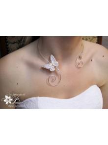Papillon voile collier de mariage arabesques