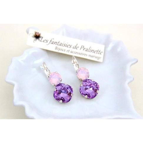 Boucles d'oreilles Duo de cristal violet et rose opal, bijoux mariage, bijoux intemporels, bijoux témoins demoiselles d'honneur