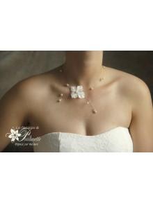 Enya collier de mariée fleur en satin
