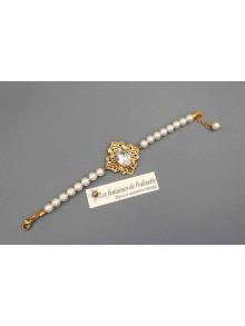 Bracelet de mariage perles et cristal style rétro vintage filigrane