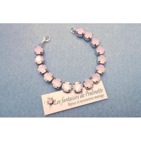 Bracelet Rivière de cristal rose opal, bracelet de mariage cabochons sertis