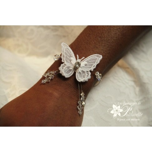 Pascaline bracelet de mariage papillon voile et cristal