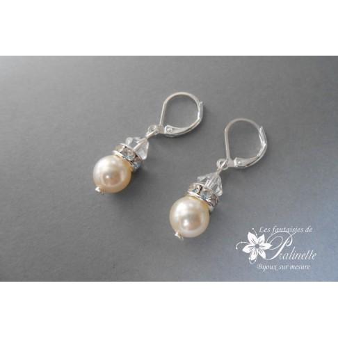 Derline boucles d'oreilles mariage en perles, cristal et strass