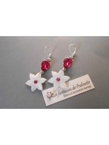 Boucles d'oreilles fleurs de nacre edelweiss et cabochons en cristal