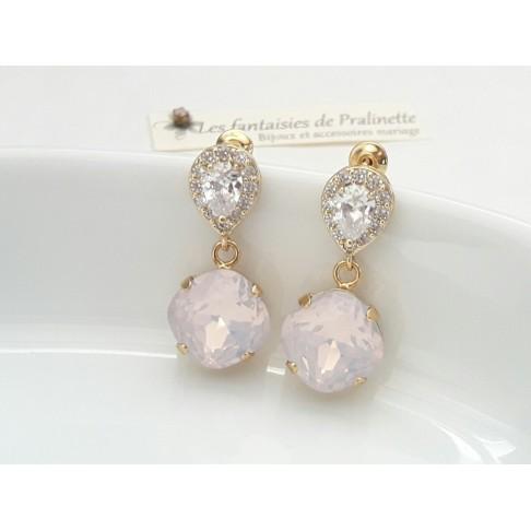 Eden boucles d'oreilles mariage strass et cristals, bijoux mariées, clous d'oreilles cristal zircon