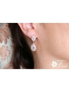 Soane rose gold boucles d'oreilles mariage strass et gouttes, bijoux mariées, clous d'oreilles zircon