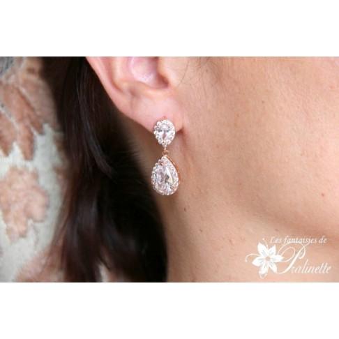 Soane rose gold boucles d'oreilles mariage strass et gouttes, bijoux mariées, clous d'oreilles oxyde de zirconium