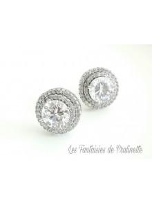 Joan clous puces d'oreilles en cristal et strass oxyde de zirconium, bijoux mariées