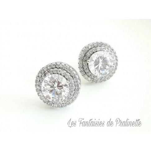 Joan clous puces d'oreilles en cristal et strass, bijoux mariées