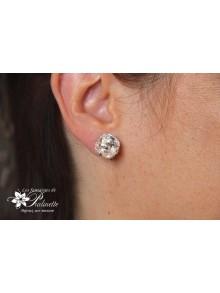 Clips d'oreilles cristal carré, boucles pour oreilles non percées