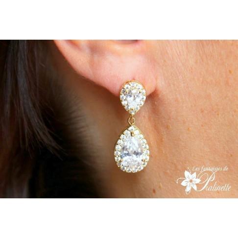 Soane boucles d'oreilles mariage strass et gouttes, bijoux mariées, clous d'oreilles cristal zircon
