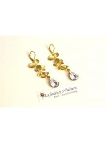 Boucles d'oreilles mariage cascade fleurs d'orchidée ciselée et cristal