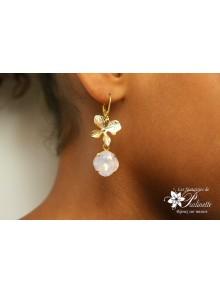 Boucles d'oreilles orchidées et cristal, bijoux mariage, bijoux intemporels