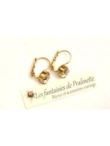 Boucles d'oreilles dormeuses cristal solitaire style ancien, bijoux mariage, bijoux intemporels, bridal earrings