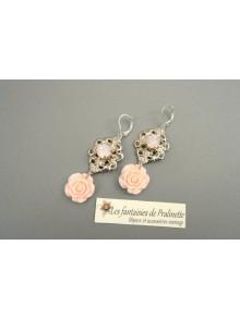 Boucles d'oreilles fleurs de rose Alexine