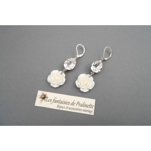 Boucles d'oreilles mariage fleurs de rose Elène