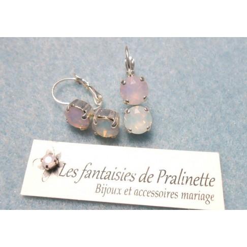 Aléna rose opal dormeuses style anciennes cabochons en cristal style rétro vintage