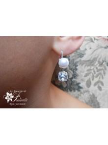 Aléna dormeuses style anciennes cabochons en cristal nacré perle style rétro vintage