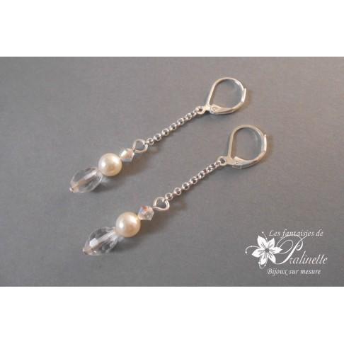 Boucles d'oreilles chaine Talia perles et cristaux