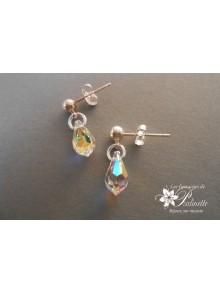 Boucles d'oreilles mariage gouttes de cristal