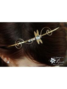 Serre-tête headband libellule Jana cabochon en cristal