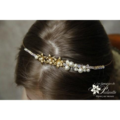 Couronne de mariage fleurs d'ewelweiss dorées et cristal