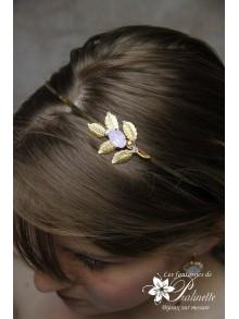 Serre-tête headband branche feuilles dorées cabochon en cristal ovale