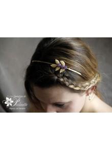 Serre-tête headband branche feuilles dorées rebrodées de cristaux