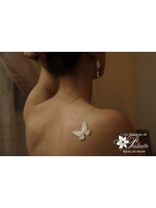 Bijou de peau mariage papillon voile et strass