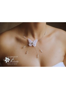 Pascaline collier de mariee papillon voile et cristal