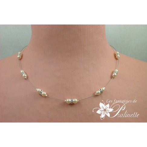 Derline collier de mariage perles et strass