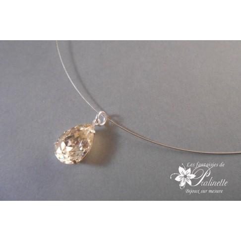 Collier de mariage Diamant, cabochon serti goutte en cristal