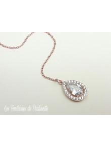 Ana-Malia bijou de dos mariage goutte sertie et strass rose gold, pendentif oxyde de zirconium, bijou de dos mariée