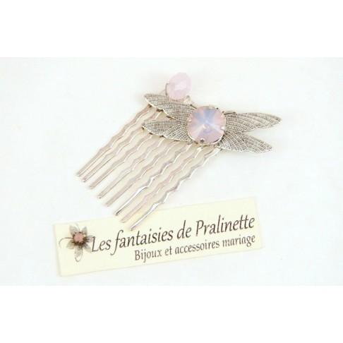 Peigne libellule argentée et cabochon en cristal, bijoux mariage, bijoux intemporels, bijoux cristal