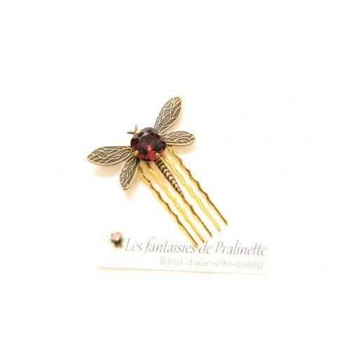 Peigne libellule et cabochon en cristal, bijoux mariage, bijoux intemporels, bijoux cristal