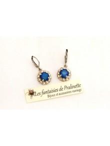 Boucles d'oreilles Beauty strass et cabochons en cristal, bijoux mariage, bijoux intemporels, bridal earrings