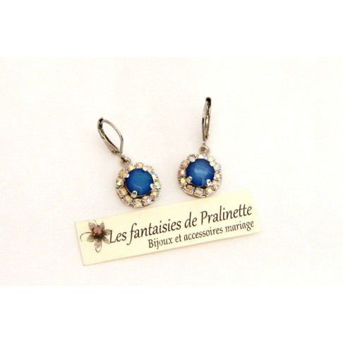 Boucles d'oreilles Beauty strass et cabochons en cristal, bijoux mariage, bijoux intemporels, bridal earrings