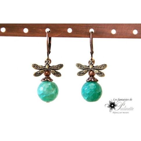 Boucles d'oreilles minimalistes libellules et agate, bijoux intemporels, vintage inspiration