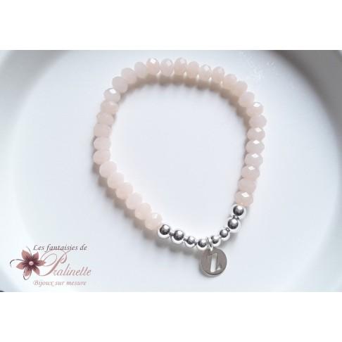Bracelet grigri en argent, bracelet élastique perles et breloque initiale