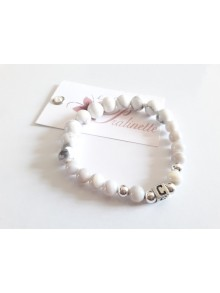 Bracelet grigri en argent, bracelet élastique perles et perle initiale