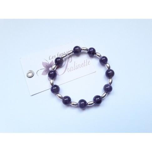 Bracelet en argent, bracelet élastique perles amethyste, bracelet grigri breloque porte bonheur