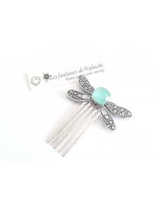Peigne libellule et cabochon en cristal bleu givré, bijoux mariage, bijoux intemporels, bijoux cristal