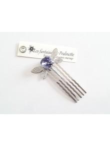 Peigne libellule et cabochon en cristal violet, bijoux mariage, bijoux intemporels, bijoux cristal